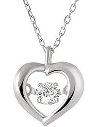 SUEHIRO K10ホワイトゴールド ネックレス 一粒 揺れる ダイヤモンド ペンダント ネックレス ハート