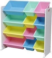 アイリスオーヤマ おもちゃ箱 パステル 幅86.3×奥行34.8×高さ89.5cm キッズ トイハウスラック KTHR-412