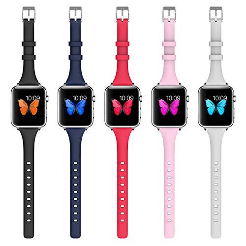Apple Watch 対応 バンド 38mm /42mm シリコン製 腕時計交換ベルト ファッションアップルウォッチバンドに対応 スポーツ,薄い, Apple Watch series1 series2 series 3 適応 女性「38mm A 5PCS 」