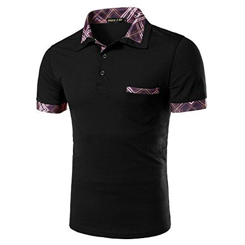 (メイク トゥ ビー) Make 2 Be メンズ カジュアル ポロシャツ ゴルフ MF27 (41.Argyle_Black_L)