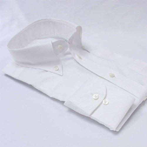 ワイシャツ メンズ長袖(形態安定シャツ)ボタンダウン ホワイトドビーカルゼ 綿ポリ混 軽井沢シャツ [A10KZB429]