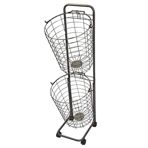 MRG 改良版 ランドリー バスケット スリム 2段 収納 ランドリーラック ランドリーワゴン ワイヤー バスケット タワー (ヴィンテージ(シルバー))