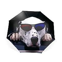 日傘 折りたたみ 折り畳み傘 耐久性 折りたたみ傘 8本骨 トラベルアウトドア傘 ウィンドウの上に横たわる犬 撥水防雨防風 晴雨兼用 軽量 高密度 持ち運びに便利