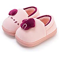 Kid Slippers, Children's Cotton Slippers, Cute Cartoon House Non Slip Slippers for Toddler Kids,Pink,180/190
