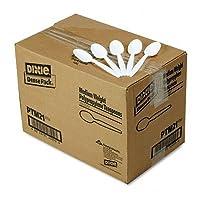 Plastic Cutlery, Mediumweight Teaspoons, White, 1000/Carton (並行輸入品)