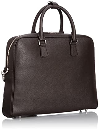 Leather Slim Briefcase 1332-699-4010: Dark Brown