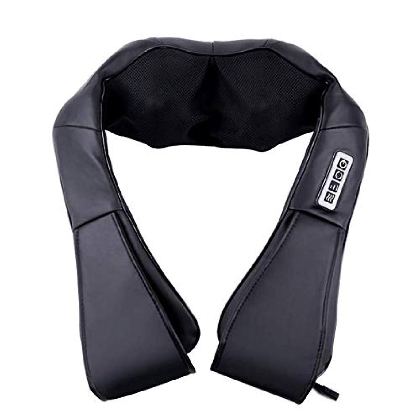 ガラス泳ぐ征服者ポータブルネックマッサージャー、三段調節指圧ショルダー&バックマッサージャー、熱ディープニーディングマッサージ、肌にやさしいPUレザー、通気性のあるメッシュクロス、家庭用/車のデュアルユース,Black