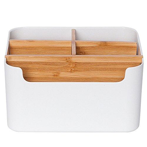収納ボックス 卓上メイクボックス 小物入れ オフィス収納 書斎、テーブル、寝室、居間、事務室用 ホワイト おしゃれ 可愛い リモコン収納ボックス 多機能