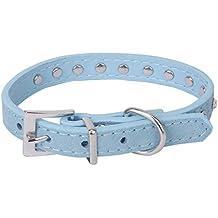 Fromzerotohero Adjustable Dog Harness Adjustable Pet Dog Cat Neck Collar Artificial Leather Rhinestone Decorated (32cm Blue)