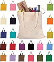 Set of 12 Wholesale Cotton Tote Bags 100% Cotton Reusable Tote Bags 1 Dozen by ToteBagFactory