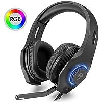 【ゲーミングヘッドセット RGB】EasySMX VIP002S有線ゲームヘッドホン 3.5mm 高音質 伸縮可能 PS4/PC/New Xbox One/Switch/スマホ/ラップトップ/タブレットに対応 110°回転マイク付き 音量調節可能 ステレオヘッドフォン 【1年保証】
