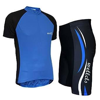 Wellcls サイクルジャージ 半袖 上下セット 自転車 サイクリング (ブルー, S)