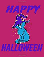 """Happy Halloween: Cute Witch Cat, 8.5"""" x 11"""" Composition Notebook, 120 lined pages, wide ruled, Pink Background"""