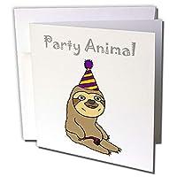 3dRose gc_254035_1 6 x 6インチ「パーティーハットのある面白いナマケモノはパーティーアニマルと言う」グリーティングカード(6枚組)