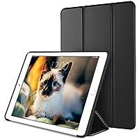 DTTO iPad Air2 ケース 生涯保証カード付け 超薄型 超軽量 TPU ソフト スマートカバー 三つ折り スタンド スマートキーボード対応 キズ防止 指紋防止 [オート スリープ/スリー プ解除] ブラック