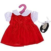 ノーブランド品  ドレス  サテン ダンスシューズ付き  18インチアメリカンガールドール用 2色選べる - 赤