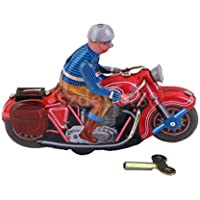 old-fashioned Wind - Up Rider on motor bike motorcycle Tin Toyデスク装飾