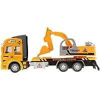 Greenery 子供のおもちゃの車 工事車両 子供の知育玩具モデル フリクション 合金のおもちゃの車 バックホウ 掘削機