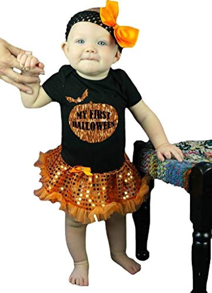 思いやりのある強い診断する[キッズコーナー] ハロウィン Bling My First Halloween オレンジ ドレス ベビー服 子供チュチュ Nb-18m (ブラック, Small) [並行輸入品]