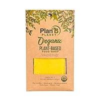 Plan B Planet オーガニック 再利用可能な植物ベースのフードラップ 蜜蝋無し 生分解性 ビーガン 非毒性 環境に優しいプラスチックフリー食品保存 3パック(スモール1個、ミディアム1個、ラージ1個)