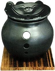 常滑焼 ?40-11 茶香炉里山窯 猫皿 杉板付    径10×10
