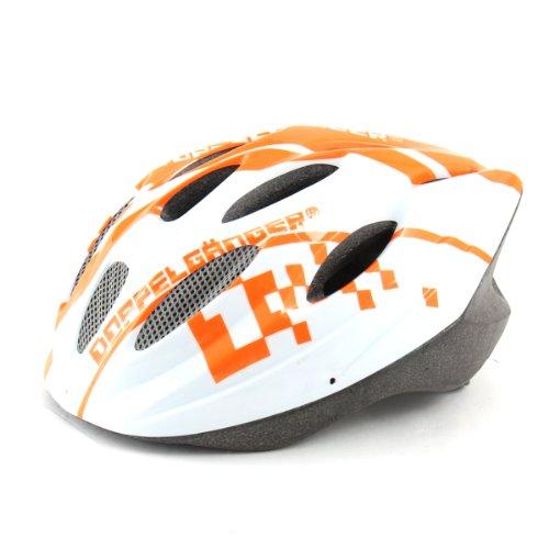 DOPPELGANGER(ドッペルギャンガー) ヘルメット DH002 ホワイト/オレンジ 自転車用 S-L 54~59cm 専用バイザー付属 軽量250g [サイズアジャスター付き]