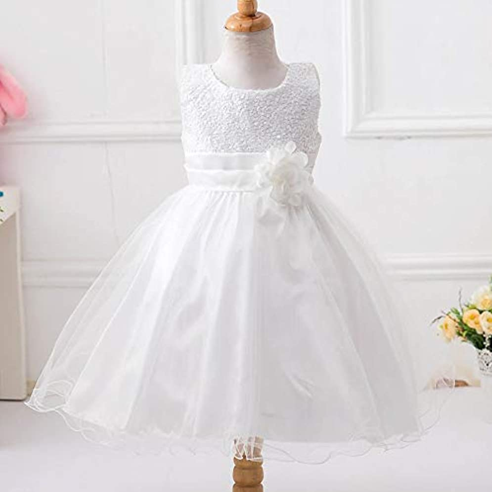 に対応蓄積するおもてなし女の子プリンセスドレスハロウィン子供服夏フラワーガールドレスシンデレラ衣装ショードレス-ホワイト140 cm