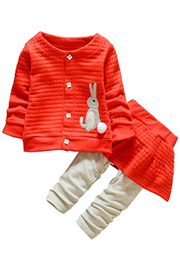Ancia Kids Clothes Girl Baby Long Sleeve Cotton Clothing Pants Outfits Set(Rabbit Red,9-12Months)