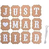 Creacom ペナントバナー ガーランド JUST MARRIED 飾り 文字 ヴィンテージ風 結婚式 撮影用 小物 装飾用 ガーランド チェアサイン セット ウェディングフォト 結婚式 壁飾り 撮影 小道具 装飾