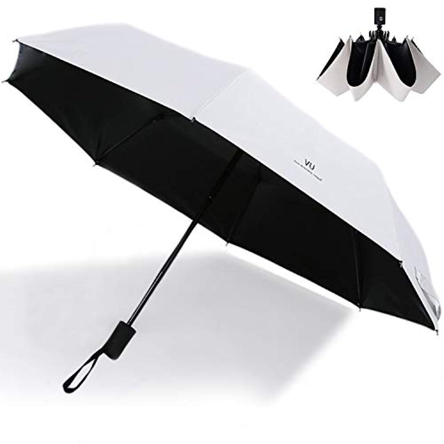受粉する道路州T WILKER 日傘 折りたたみ傘 ワンタッチ自動開閉 8本骨 耐風撥水 晴雨兼用 紫外線遮断 体感温度下げ UVカット率99.9% シンプル (ホワイト)