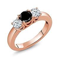 Gem Stone King 1.21カラット 天然ブラックダイヤモンド 天然 トパーズ (無色透明) シルバー925 ピンクゴールドコーティング 指輪 リング