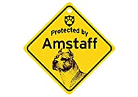 Protected by Amstaff スモールサインボード:アメスタ 監視中 ミニ看板 アメリカ製 Made in U.S.A [並行輸入品]