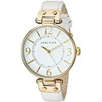 Anne Klein Women's 109168WTWT Gold-Tone Watch with White Leather Band