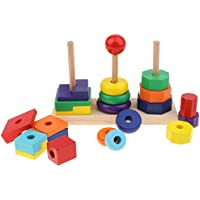 MagiDeal 木製 3コラム レインボー 幾何学ブロック マッチスタックタワーセット 早期教育玩具 子供