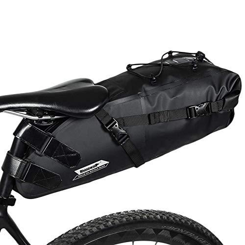 Rhinowalk サドルバッグ ロードバイク 防水 自転車 サドルバック 大容量 10L PVC加工 (ブラック)