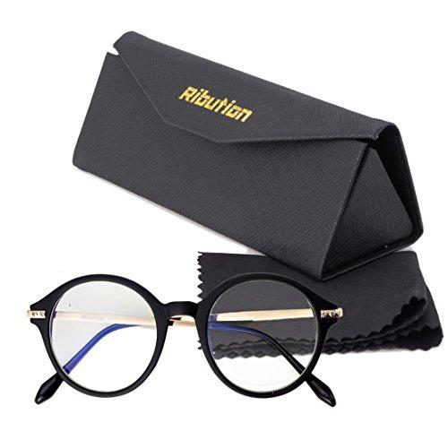 Ribution ブルーライトカットメガネ ボストン PC用メガネ ブルーライト対策50%カット UV400カット99% 度なし ブラック
