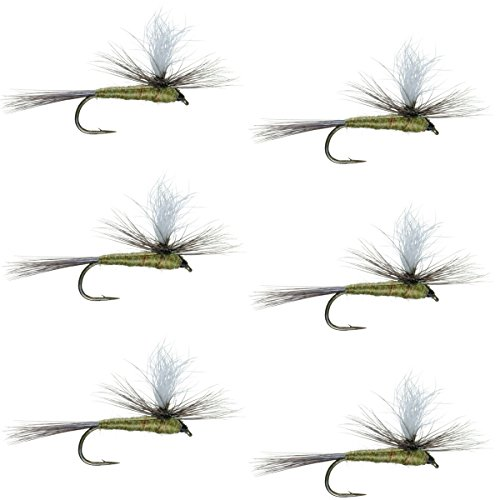 The Fly Fishing Place Parachute Blue Winged Olive BWO Classic Trout Dry Fly Fishing Flies - Set of 6 Flies Size 14