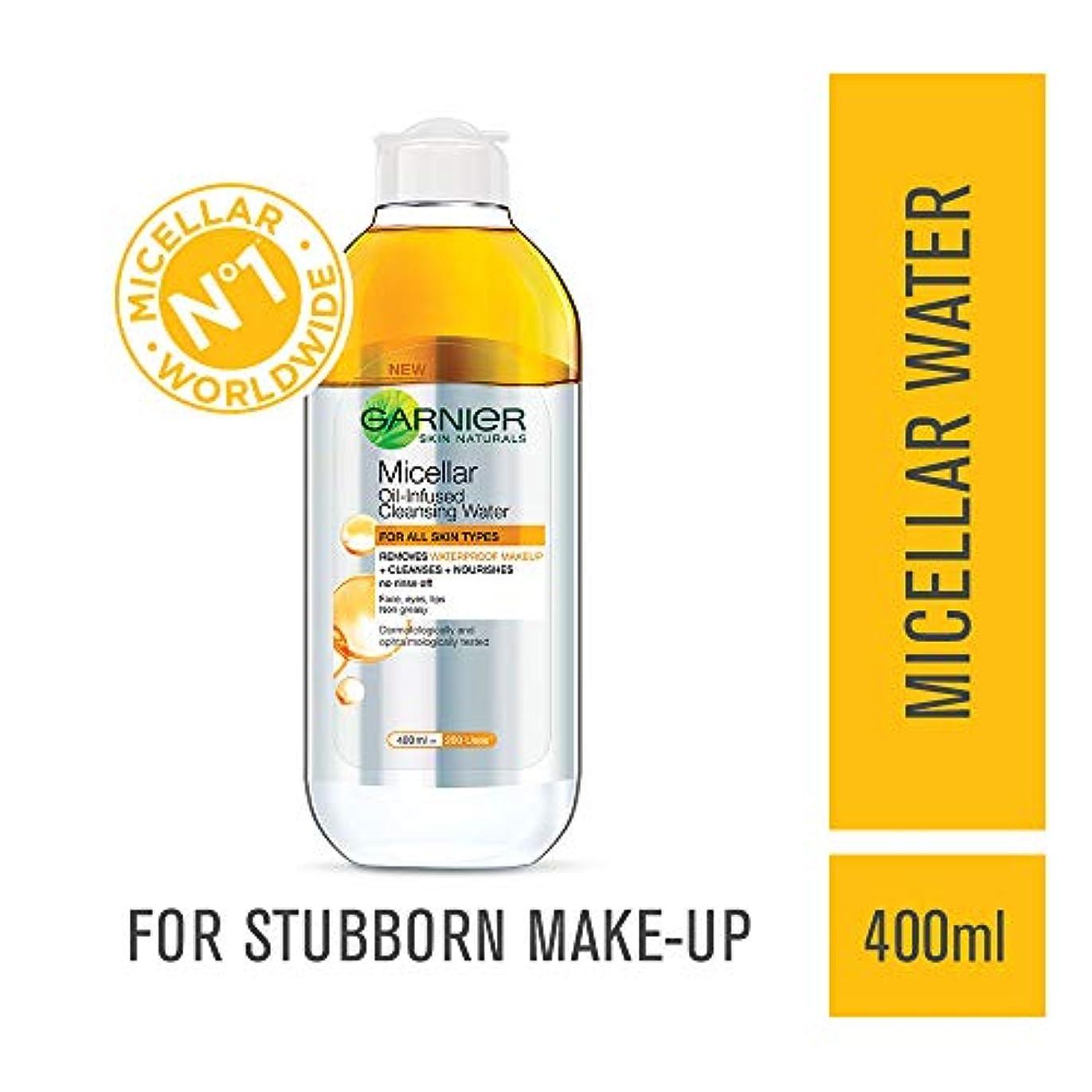 タップ郊外気分が悪いGarnier Skin Naturals, Micellar Oil-Infused Cleansing Water, 400ml