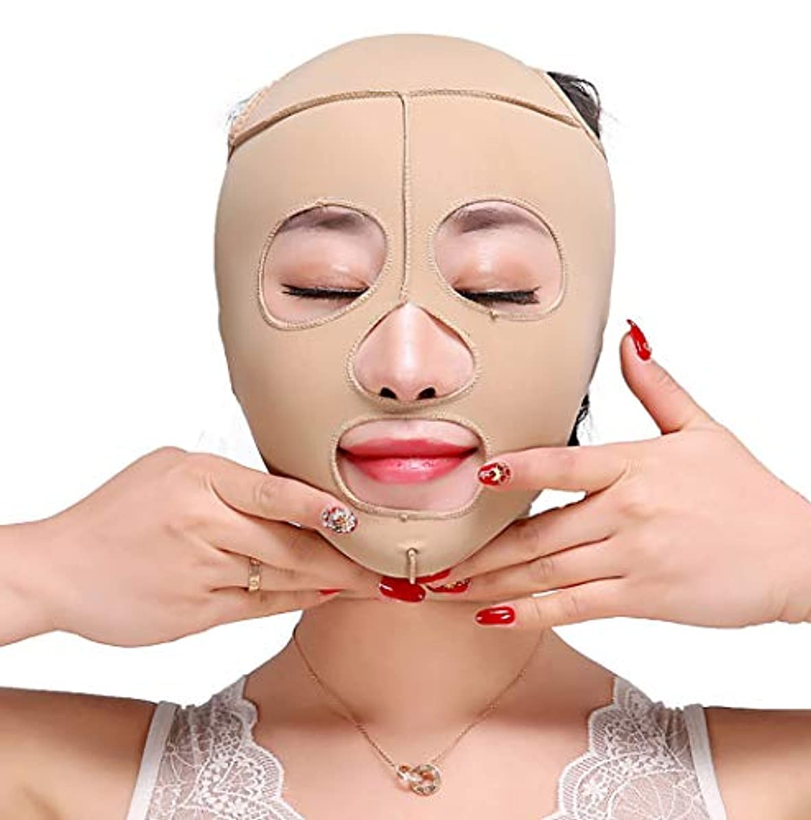防腐剤彼女自身韓国GLJJQMY 痩身ベルト痩身ベルト薄い顔の包帯小V顔の顔の薄い顔のマスク包帯の強化引き締めV顔美容マスク小さな顔の包帯の頭飾り修正顔の形 顔用整形マスク (Size : M)