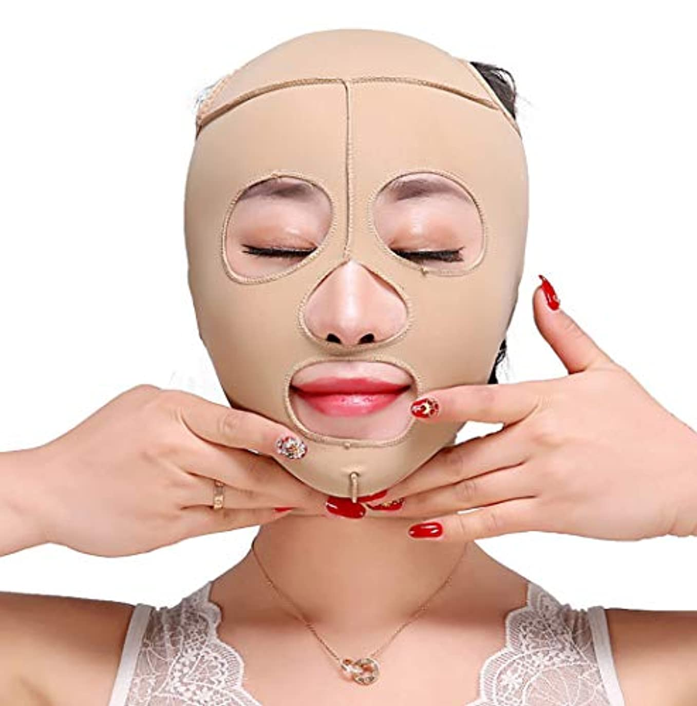 道路くシーボードTLMY 痩身ベルト痩身ベルト薄い顔の包帯小V顔の顔の薄い顔のマスク包帯の強化引き締めV顔美容マスク小さな顔の包帯の頭飾り修正顔の形 顔用整形マスク (Size : M)