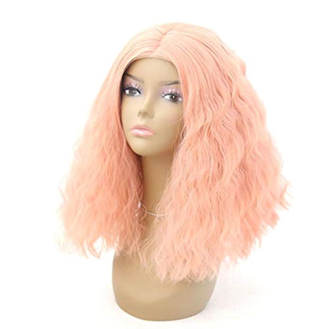 鉱石セマフォ人形Kerwinner 女性のためのフロントレースかつらふわふわリトルカーリーピンクショートヘア