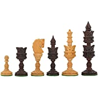 Chessbazaar The Lotus Series Wooden Chess Pieces In Rose & Box Wood