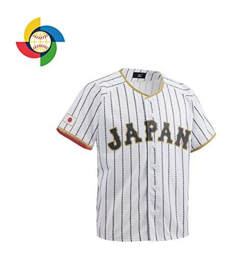 MIZUNO(ミズノ) 侍ジャパン レプリカユニフォーム 無地ホームプリント 12JC7F8000 ホワイト×サムライネイビーダイヤモンドストライプ (01) S-M 野球 日本代表 侍JAPAN
