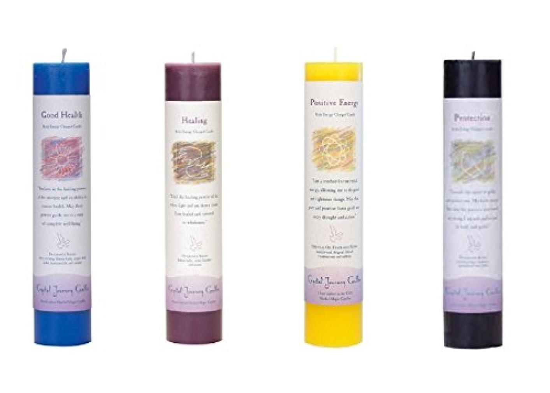 自動的に味方検閲(Good Health, Healing, Positive Energy, Protection) - Crystal Journey Reiki Charged Herbal Magic Pillar Candle...