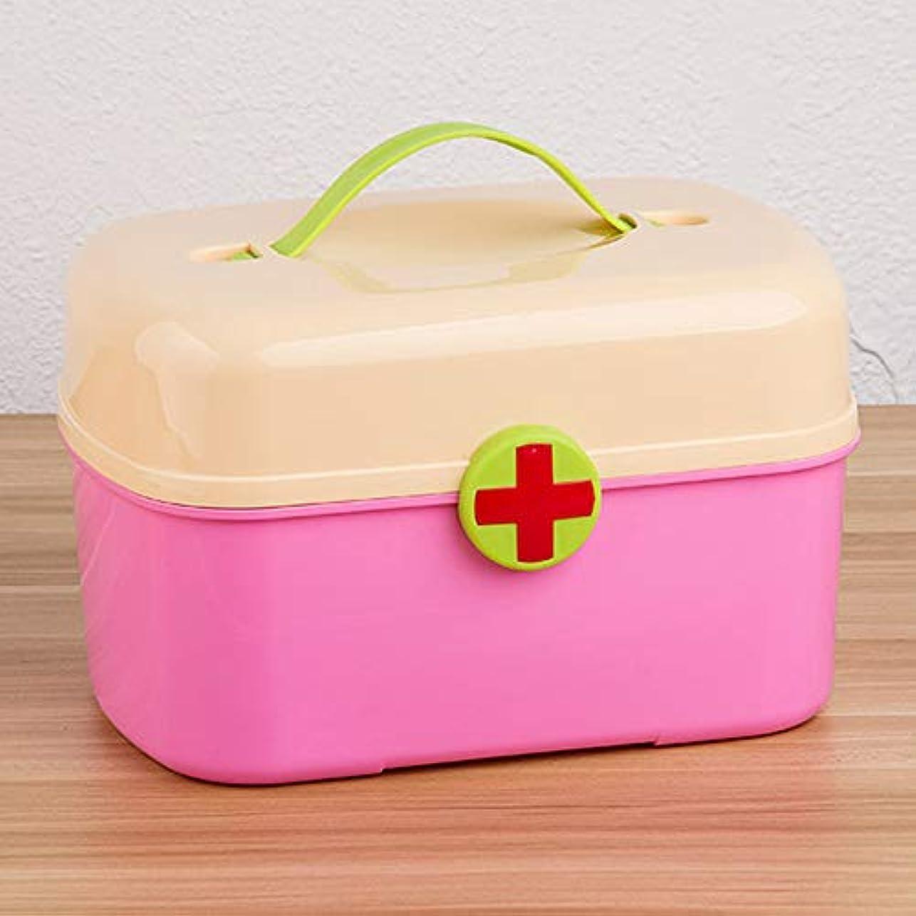 突っ込む基本的な考古学YD 救急箱 医療ボックス-PPプラスチック材料、ポータブルポータブル防湿防塵二層大容量家庭用かわいい風、家庭用多層かわいい医療ボックス医療外来医療ボックス医療収納ボックスファミリー救急箱 - 4色 /& (色 : Pink)