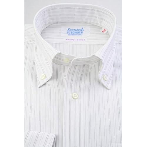 (スキャッティ) Scented 白地 グレー レールストライプ 綿100% ボタンダウン (細身) ドレスシャツ bd4142-4185