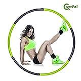 COOFEL フラフープ 組み立て式6本 シェイプアップ スポーツ エクササイズ ダイエット 直径95cm (緑&黒)