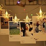 Allforlife LED 写真クリップ ストリングライト イルミネーションライト 星型装飾 パーティー 結婚式 誕生日 飾りライト スター 電飾 室内室外 ウォームホワイト(3M、20LED、電池式)