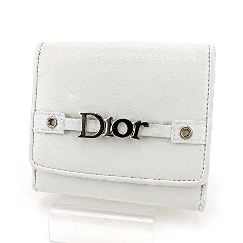 ディオール Dior Wホック 財布 二つ折り レディース メンズ 可 ロゴ 中古 美品 T5496