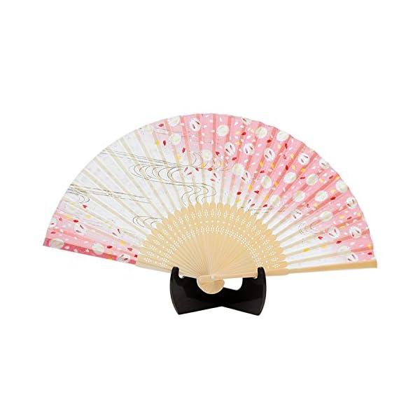 シルク扇子 ラメうさぎ ピンク 504-724の商品画像